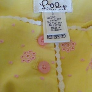 Lilly Pulitzer Yellow eyelit lace Pink embellished